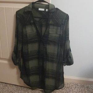 Green and black plaid collared shirt